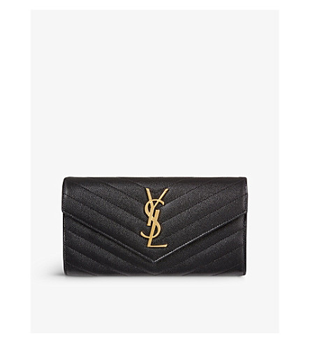 SAINT LAURENT Monogrammed quilted leather wallet (Black