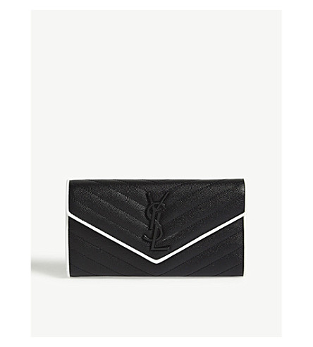 SAINT LAURENT Monogram quilted leather wallet (Black/white