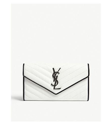SAINT LAURENT Monogram quilted pebbled leather wallet (White/black