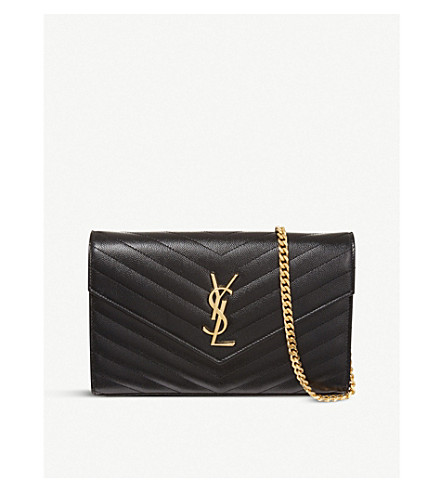 SAINT LAURENT Monogram quilted-leather shoulder bag (Black