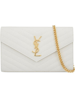 SAINT LAURENT Monogramme quilted envelope clutch