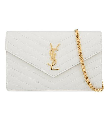 SAINT LAURENT Monogram quilted leather shoulder bag (White