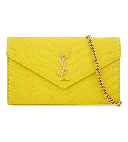 SAINT LAURENT Monogram quilted leather shoulder bag (Yellow