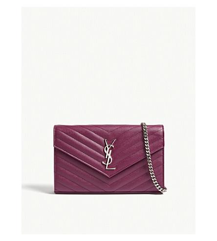 SAINT LAURENT Monogram quilted leather wallet (Pivoive+pink