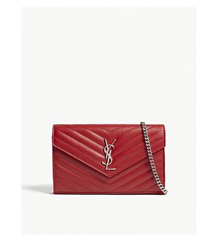 SAINT LAURENT Monogram quilted-leather shoulder bag (Rouge