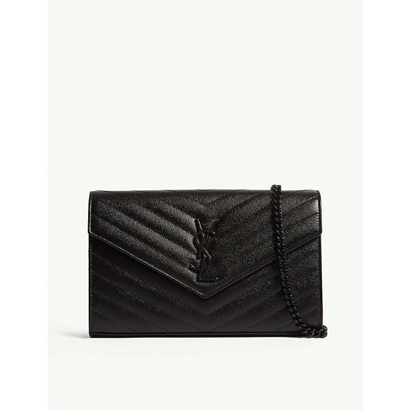 Monogram quilted leather envelope clutch