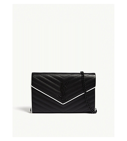 SAINT LAURENT Monogram quilted leather wallet-on-chain (Black/white