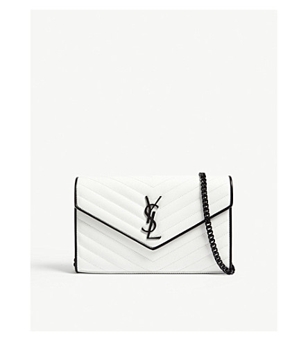 SAINT LAURENT Monogram quilted leather wallet-on-chain (White/black