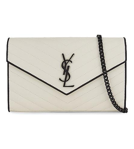 SAINT LAURENT Monogram medium leather clutch (White black