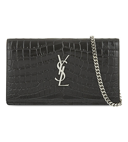 SAINT LAURENT Croc-embossed leather envelope clutch (Black