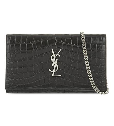 SAINT LAURENT Croc-embossed leather envelope clutch (Black