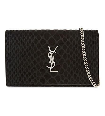 SAINT LAURENT Monogram python-effect suede shoulder bag (Black