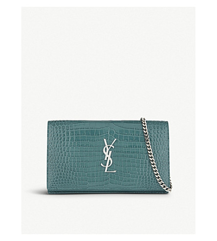 SAINT LAURENT Croc-embossed leather clutch bag (Water+green