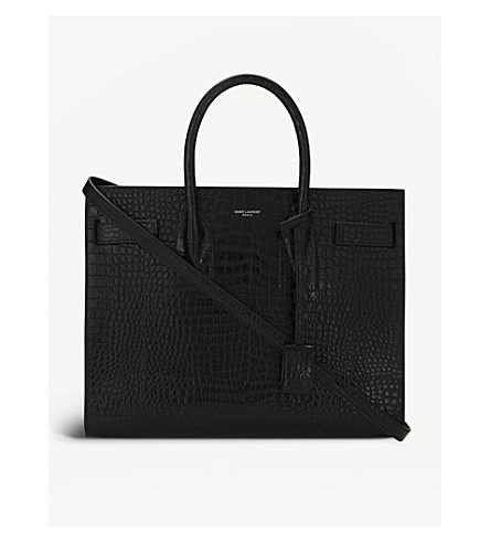 SAINT LAURENT Sac 小鳄鱼浮雕皮革手提包 (黑色