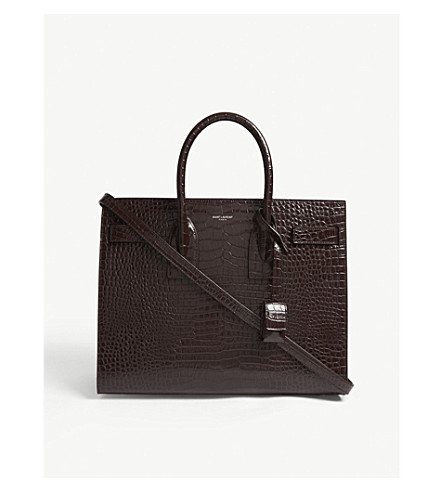 SAINT LAURENT Sac de Jour small crocodile-embossed leather tote (Black+tulip