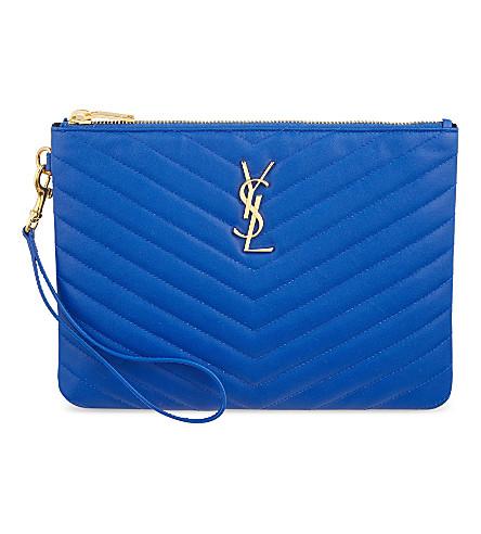 SAINT LAURENT Monogram quilted leather pouch (Bleu+majorelle