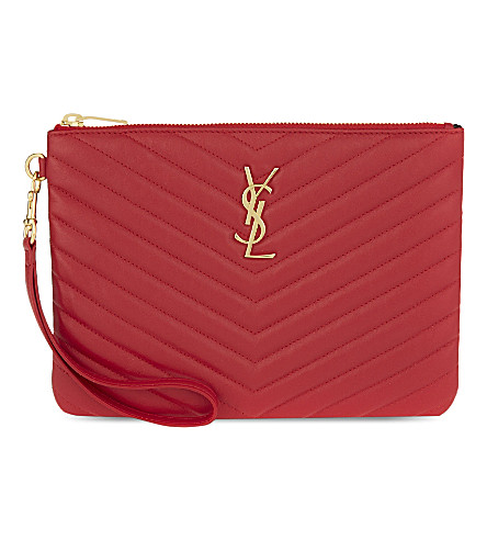 SAINT LAURENT Monogram quilted leather pouch (New+red