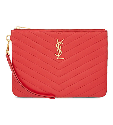 SAINT LAURENT Monogram quilted leather pouch (Lipstick+red