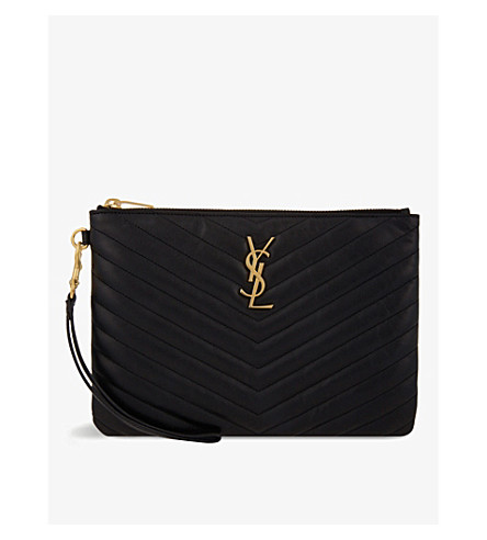 SAINT LAURENT Monogram quilted leather pouch (Black
