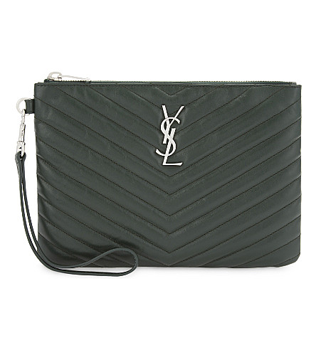 SAINT LAURENT Monogram leather pouch (Dark+leaf
