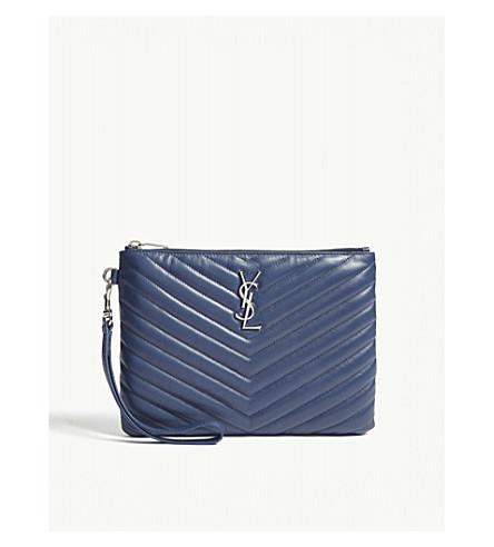 SAINT LAURENT Monogram quilted leather pouch (Denim+blue