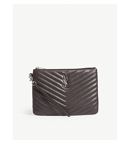 SAINT LAURENT Monogram quilted leather pouch (Black+tulip