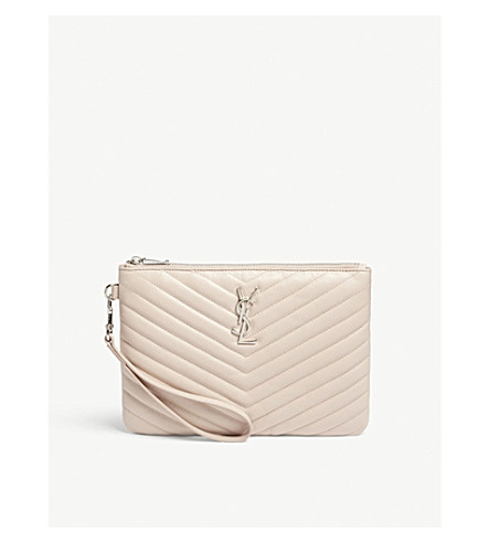 SAINT LAURENT Monogram quilted leather pouch (Marble+pink