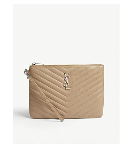 SAINT LAURENT Monogram quilted leather pouch (Sable