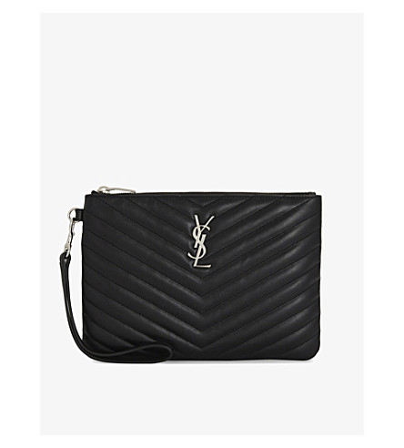 SAINT LAURENT Quilted monogram leather pouch (Black