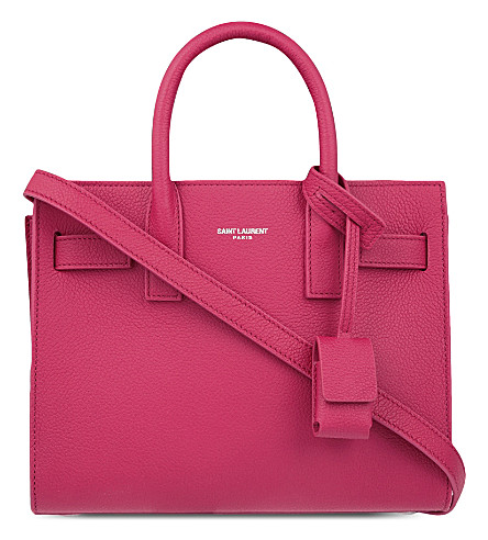 SAINT LAURENT Sac de Jour nano grained leather tote (Lipstick fushia
