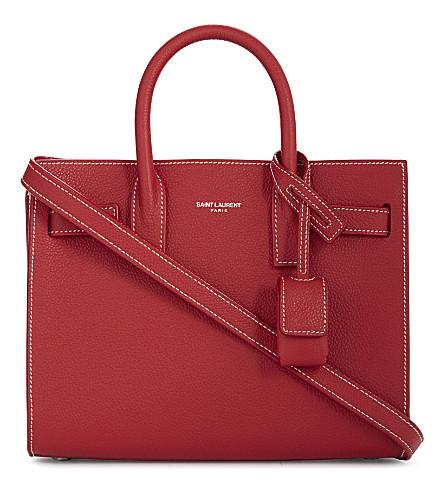 SAINT LAURENT Sac de Jour Nano leather tote (Rouge vif