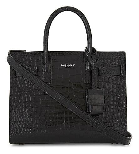 SAINT LAURENT Nano Sac de Jour crocodile-embossed leather bag (Black