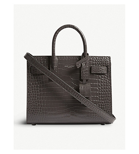SAINT LAURENT Nano Sac de Jour croc-embossed leather tote bag (Aspalt+grey