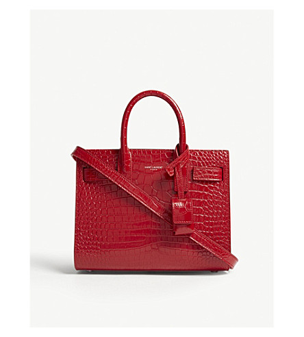 SAINT LAURENT Sac de Jour nano crocodile-embossed leather tote (Rouge