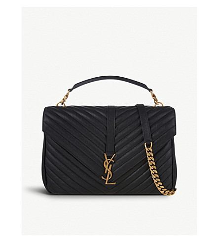 SAINT LAURENT Monogram collège leather satchel (Black+gold+hardware