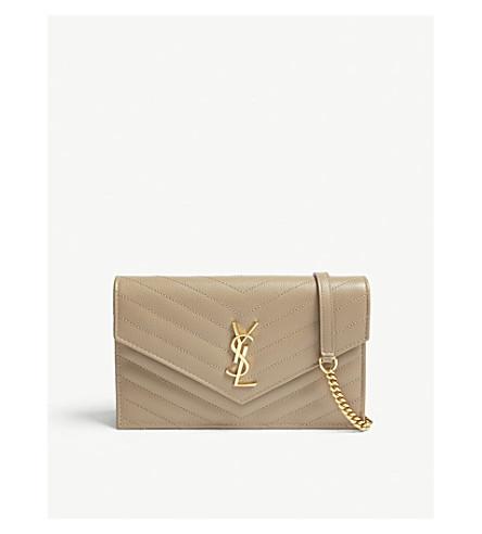 Monogram leather envelope wallet-on-chain