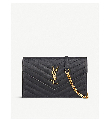 SAINT LAURENT Monogram quilted leather envelope clutch (Black