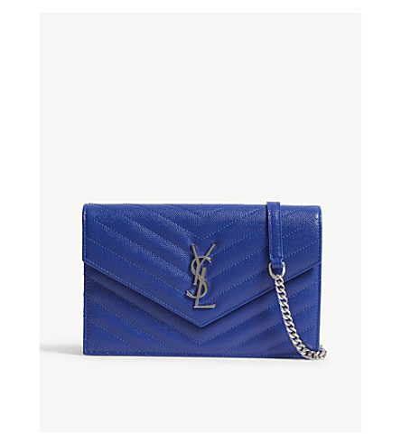 SAINT LAURENT Monogram pebbled leather wallet-on-chain (Bright blue/silver