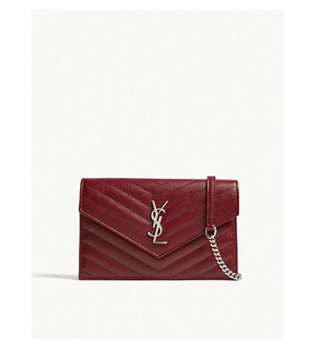 SAINT LAURENT Monogram pebbled leather wallet-on-chain (Palisandre