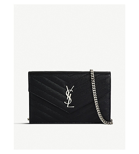 SAINT LAURENT Monogram quilted-leather shoulder bag (Black+silver+hw
