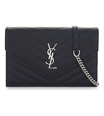 SAINT LAURENT Monogram quilted leather envelope wallet-on-chain (Blue+fonce