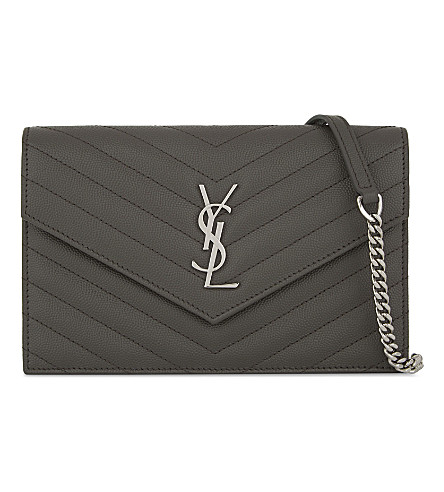 SAINT LAURENT Monogram quilted leather envelope wallet-on-chain (Earth