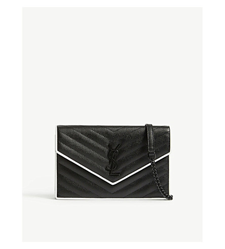 SAINT LAURENT Monogram pebbled leather wallet-on-chain (Black/white