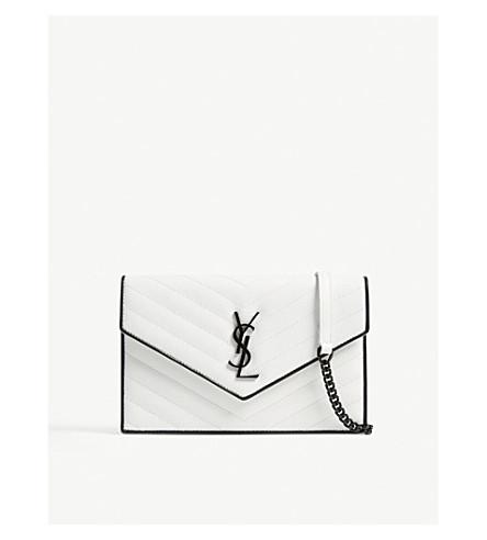 SAINT LAURENT Monogram envelope leather wallet-on-chain (White/black