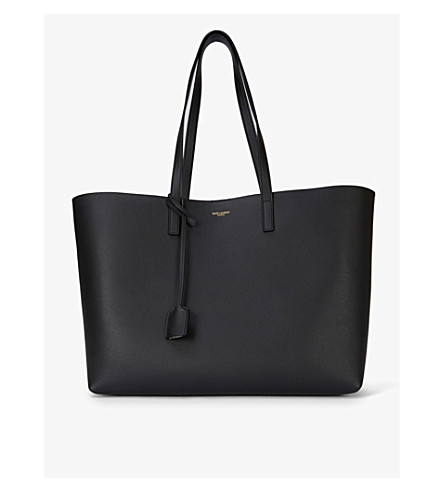 SAINT LAURENT Large leather tote (Black