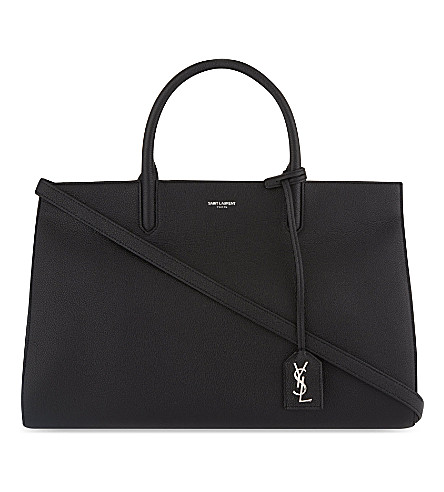 SAINT LAURENT Cabas Rive Gauche grained leather tote (Black