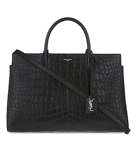 SAINT LAURENT Cabas Rive Gauche medium crocodile-embossed leather tote (Black