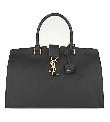 SAINT LAURENT Cabas medium leather tote (Black