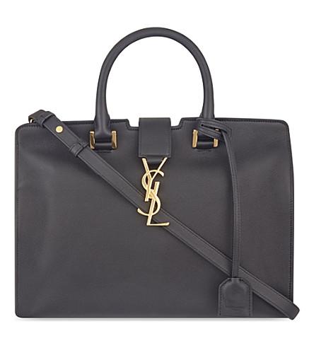 SAINT LAURENT Monogram Cabas small leather tote (Black