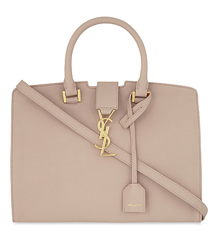 SAINT LAURENT Monogram Cabas small leather tote (Pale+blush